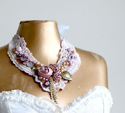 Faded Lavender Lace and Satin Statement Necklace
